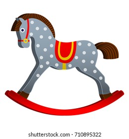 rocking horse. children's toy. classic wooden swing. vector illustration