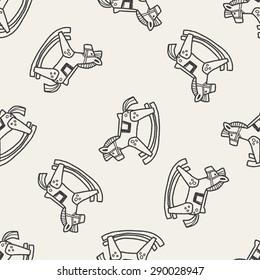 rocking horse doodle seamless pattern background