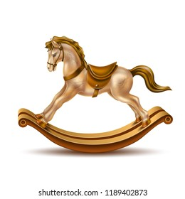 Rocking horse realistic vintage toy for christmas, birthday or new year holiday present. Vector marble golden horse with brown saddle on wooden sticks.