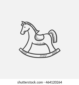 Rocking horse sketch icon for web, mobile and infographics. Hand drawn vector isolated icon.