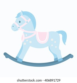 Rocking horse.Baby toy. Design element for baby shower card, scrapbook, invitation, children's goods and childish accessories. Isolated on white background. Vector illustration