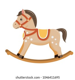 Rocking horse.Baby toy. Isolated on white background. Vector illusrtation