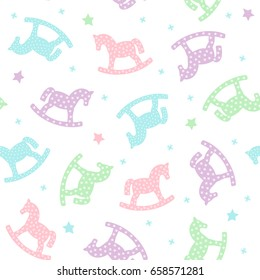 Rocking horses seamless pattern. Cute baby shower background. Pastel colors child play illustration.