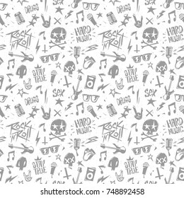 Rock'n'Roll elements grunge style monochrome seamless pattern. Endless hand drown background isolated from white. Rock n Roll pop culture for label, Tee print stamp t-shirt, print fabric texture