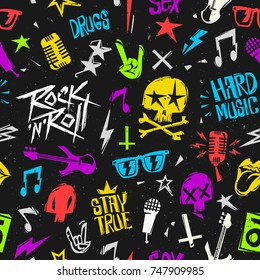 Rock'n'Roll elements grunge style seamless pattern. Endless 90s style Pop culture background isolated from black. Rock n Roll pop culture for bade, label, Tee print stamp t-shirt, print fabric texture