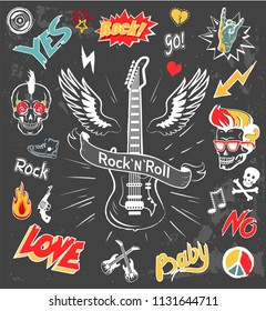 Rock-n-roll forever icons set. Love and music symbol, fire skull with punk hairstyle. Loud music and horned gestures isolated on vector illustration