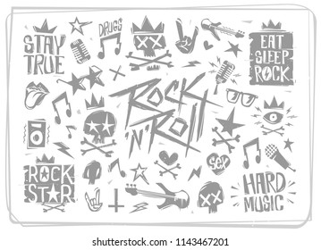 Rock'n'Roll grunge style icons and symbols vector collection. Doodle style Rock music elements isolated from white background. Rock Star elements set for tee print stamp, decoration, party poster