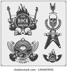Rock'n'Roll music symbols, labels, logos and design elements. Print design for t-shirts.