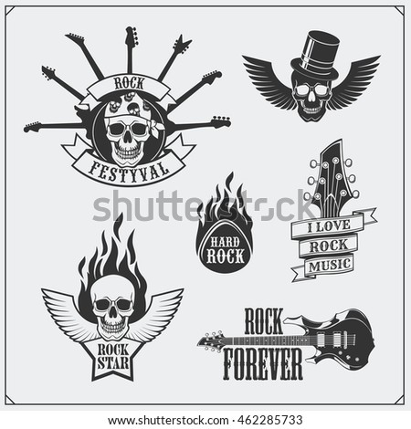 Rockn Roll Music Symbols Labels Logos Design Stock Vector Royalty
