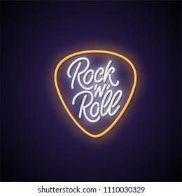 Rock'n'roll neon signboard. Vector illustration.