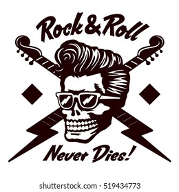 Rock'n'Roll never dies! Skull zombie head with rockabilly pomp hairstyle and sunglasses tattoo, t-shirt or sticker design vector illustration