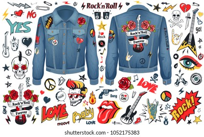 Rock-n-Roll theme set of stripes on jacket with skull, guitars hippie logos and signs of horns. Vector illustration with rock music symbols on white. Rocknroll concept