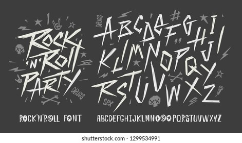 Rock'n'roll vintage doodle style font alphabet vector template. Set of Rock n roll Party grunge symbols collection for print stump tee and poster design. Rock music type font collection