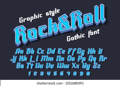 Rock&Roll - decorative modern font with graphic style. Trendy alphabet letters for logo, branding. Vector illustration
