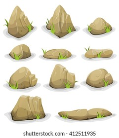 Rocks And Boulders With Grass Leaves Illustration of a set of separated cartoon boulders, rocks and stones of various shapes, with blades of grass, for filling nature landscapes and game ui scenics