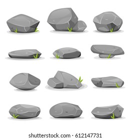 Rocks And Boulders Set/ Illustration of a set of separated cartoon boulders, rocks and stones of various shapes, with blades of grass, for filling nature landscapes and game ui scenics