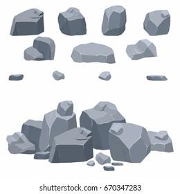 Rocks cartoon set. Different isometric stones. Vector