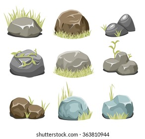 Rocks with grass, stones and green grass. Nature rock, illustration outdoor, environment plant vector. Vector rocks and vector stones