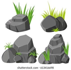 Rocks and grasses on white background illustration