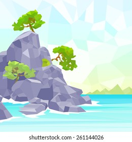rocks sea shore with tree polygon graphic vector illustration