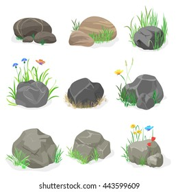 Rocks and stones with grass, flowers and butterfly collection set. Cartoon rock stone icons