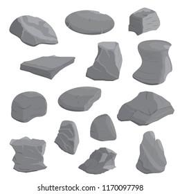 Rocks and stones illustration set. Rocks and stones isometric icon set. Vector.