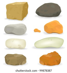 Rocks And Stones Set/ Illustration of a set of various cartoon styled rocks and other boulders, ore and  minerals