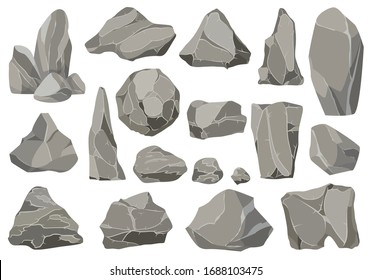 Rocks and stones single or piled for damage and
