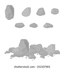 Rocks and stones single or piled for damage and rubble. Rocks and stones. Generic rocks and rubble.