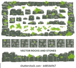 Rocks and stones vector set
