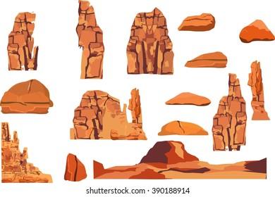 Rocks vector illustration set, stones elements isolated on white