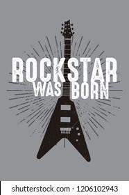 rockstar was born guitar music poster kids apparel distressed