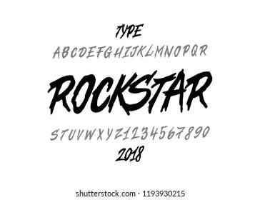 Rockstar font. Brush type face. Vector typography illustration. Alphabet design for logo, lettering and prints.