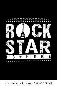 rockstar is here guitar music poster kids apparel distressed