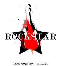 rockstar logotype logo badge sign poster emblem label symbol icon vector with flame guitar