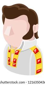 A Rockstar rock and roll man avatar cartoon person icon emoji