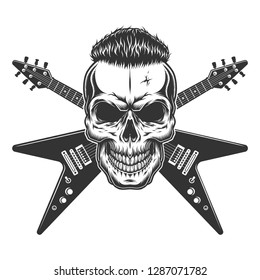 Rockstar skull with trendy hairstyle and crossed electric guitars in vintage monochrome style isolated vector illustration