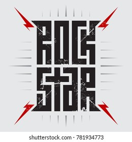 Rockstar - t-shirt design for woman or man. T-shirt apparels cool print for girls. Rock star - music poster with red lightnings.