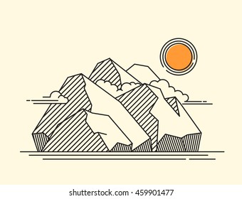 the rocky mountains landscape - lineart geometric vector illustration