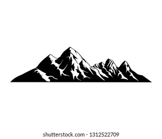 rocky mountains vector illustration, alps mountain silhouette inspirational for label and badge logo
