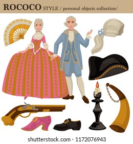 Rococo or 18 century European old retro fashion style of man and woman clothes garments and personal accessories.