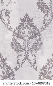 Rococo pattern background Vector. Ornamented texture luxury design. Vintage Royal textile decors
