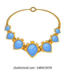 Rococo style gold necklace with blue gems, isolated jewelry vector. Golden framing with gemstones, antique accessory, vintage jewellery. Goldsmith or jeweler product, ancient expensive rarity