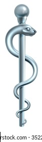 Rod of Asclepius medical symbol or symbol featuring a snake around a rod