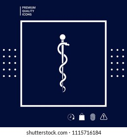 Rod of Asclepius Snake Coiled Up Silhouette
