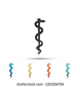 Rod of asclepius snake coiled up silhouette icon on white background. Medicine and health care concept. Emblem for drugstore or medicine, pharmacy snake symbol. Flat design. Vector Illustration