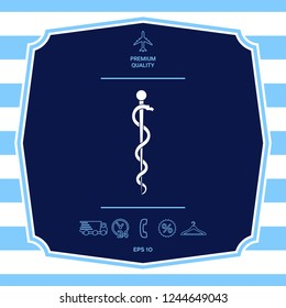 Rod of Asclepius Snake Coiled Up Silhouette. Graphic elements for your design