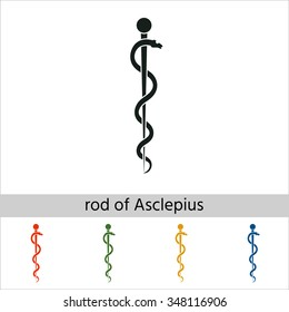 Rod of Asclepius Snake Coiled Up Silhouette. Set of varicolored icons.