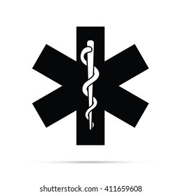 Rod of Asclepius Snake & Staff Medical Symbol Icon