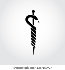 The Rod of Asclepius (the god of healing and medicine) health symbol - flat logo. Hospital icon. Pharmacy sign. Greco-Roman medical symbol